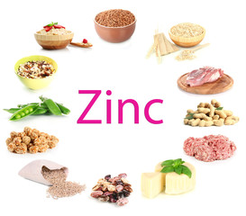 Collage of products containing zinc