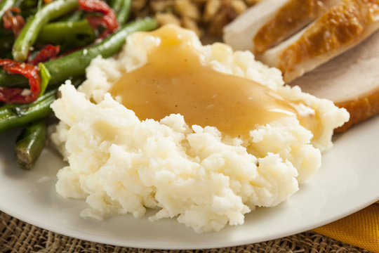 Homemade Organic Mashed Potatoes with Gravy