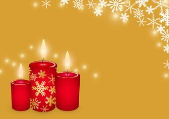 クリスマスキャンドルと雪の結晶