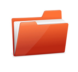 Red file folder with documents