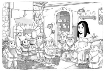 The sketch coloring page - artistic style fairy tale