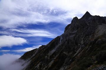 登山道から杓子岳