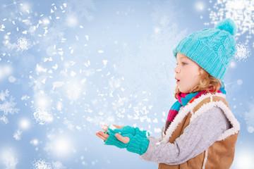 kind im winter schnee