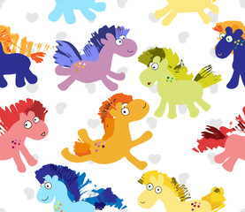 Cute cartoon horses seamless pattern