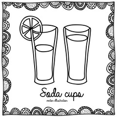 soda cups drawing