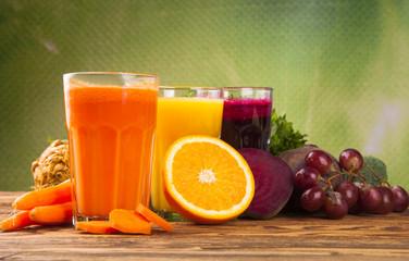 Fresh juice,Healthy drink on wood