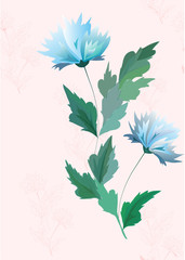 The vector blue and pink flower background