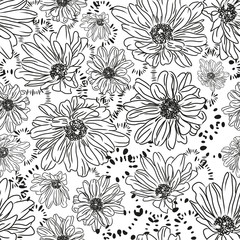 Seamless pattern with beautiful daisy flowers. Easily edited