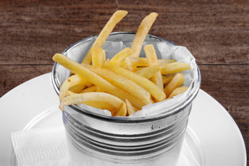 Delicious french fries on the table