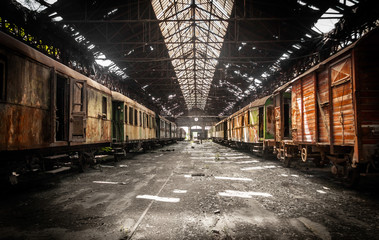 Self adhesive Wall Murals Old abandoned buildings Old trains at abandoned train depot