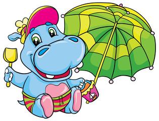 hippopotamus with a green umbrella