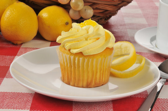 Yellow cupcake with lemon icing