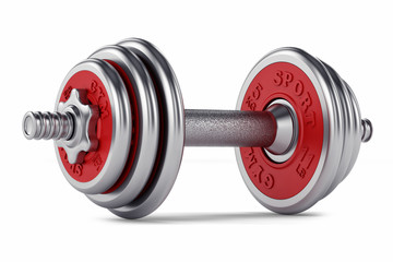 Chrome, red dumbbell for fitness