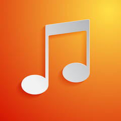 Music note white icon on orange background. Vector Illustration