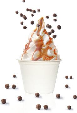 frozen yogurt caramel chocolate balls