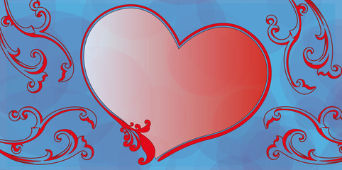 Herz Karte blau Schnörkel rot