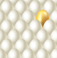 Eggs and golden egg seamless vector background