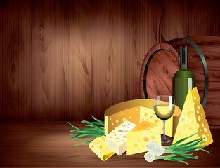 Cheeses and wine on dark wooden background vector