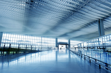 Modern Architecture of Hong Kong airport, walkway and roof