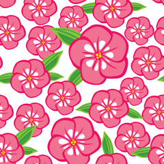 Phlox flowers seamless pattern