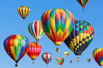 Poster Ballon colorful hot air balloons against blue sky
