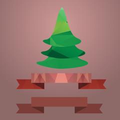 ..Christmas tree ribbon retro color coral