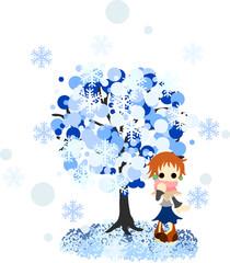 雪が降る冬のある日、木の下で佇むショートカットの女性。