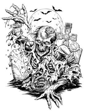 Zombie Comic Illustration Line Art