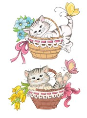 Cartoon kitty in basket  for greetings card