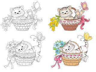 Cartoon kitty in basket for coloring book