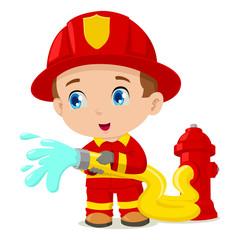 Cartoon illustration of a firefighter