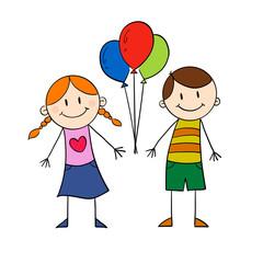 children holding balloon
