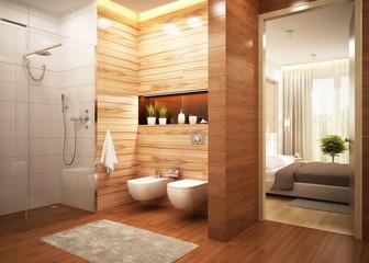 Modern bathroom in a modern hotel