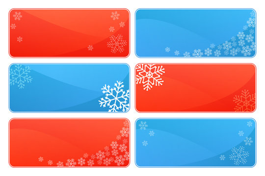 Set of winter and Christmas background themes with snowflakes