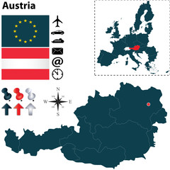 Map of Austria with European Union