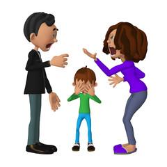 sad 3d child hearing his parents arguing