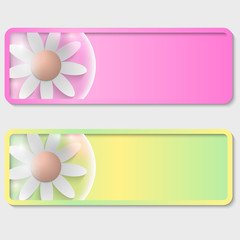 set of two text boxes with flowers