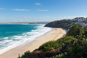 Fototapete - Carbis Bay Cornwall England near St Ives with blue sky