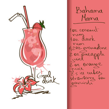 Illustration with Bahama Mama cocktail