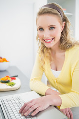 Smiling pretty blonde using laptop