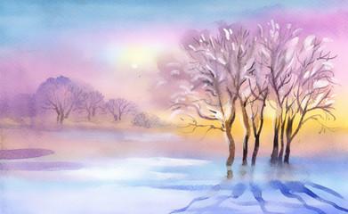 Landscape Watercolor landscape. Winter Collection