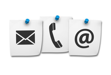 Contact Us Web Icons On Post It