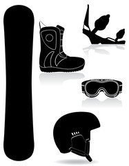 set icons equipment for snowboarding black silhouette vector ill