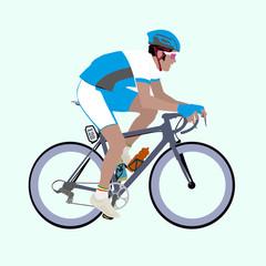 Vector Light-Blue White Racing Cyclist Illustration