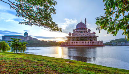 The Putra Mosque, in Putrajaya, Malaysia in the morning hours Wall mural
