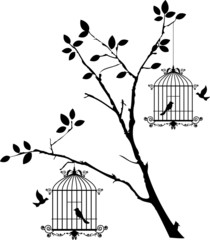 Deurstickers Vogels in kooien tree silhouette with birds flying and bird in a cage
