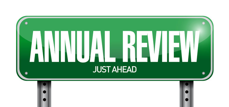 annual review road sign illustration design