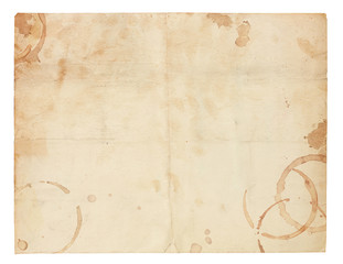 Old Blank Paper with Coffee Ring Stains