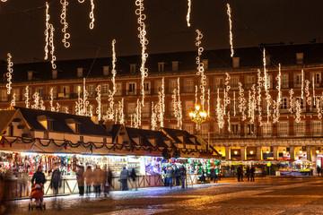 Main square of Madrid illuminated for christmas