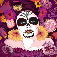 Young pretty Mexican Sugar Skull girl y with flowers in her hair